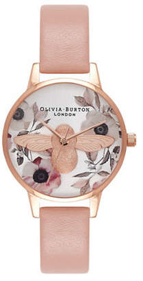 Olivia Burton Midi Floral Moulded Bee Goldtone Leather Strap Watch