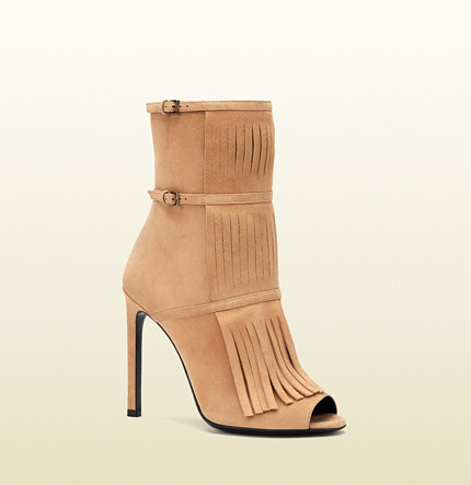 Gucci Becky Suede Open-Toe Fringed Bootie