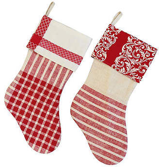 One Kings Lane Vintage French Linen Christmas Stockings