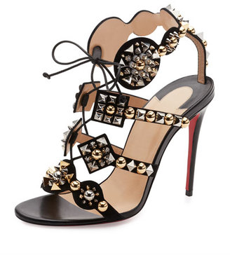 Christian Louboutin Kaleikita Spiked Lace-Up 100mm Red Sole Sandal, Version Black $1,295 thestylecure.com