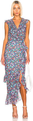 Saloni Anita Dress in Blue Poppyfield | FWRD