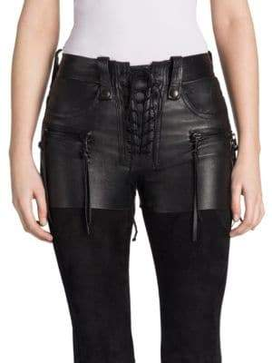 Taverniti So Ben Unravel Project Lace-Up Leather Shorts