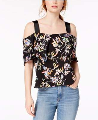 Bar III Printed Ribbon-Strap Off-The-Shoulder Top, Created for Macy's