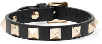 Valentino Garavani The Rockstud Leather And Gold-tone Bracelet - Black