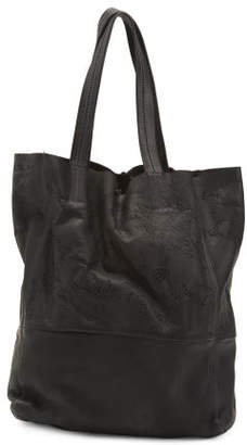 Made In Italy Leather Laser Cut Tote