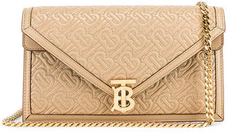 Burberry Small Monogram Quilted Envelope Chain Bag in Honey | FWRD
