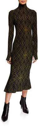 Norma Kamali Long-Sleeve Fishtail Turtleneck Midi Dress