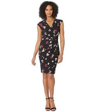 Lauren Ralph Lauren B817 Covina Floral Matte Jersey Rodya Cap Sleeve Day Dress