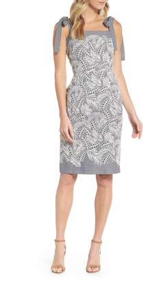 Maggy London Tie Shoulder Sheath Dress