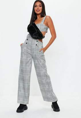 Missguided Gray Plaid Cut Out Romper
