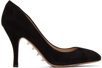 Valentino Black Garavani Suede Sole Spike Pumps