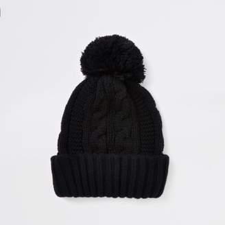 River Island Black cable knit bobble beanie hat