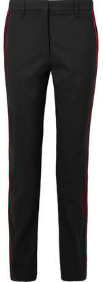 Calvin Klein Striped Wool-blend Straight-leg Pants - Black