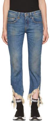 R 13 Blue Boy Straight Frayed Hem Jeans