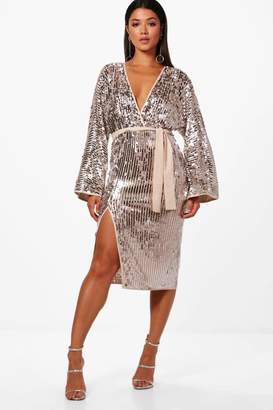 boohoo Boutique Lo Sequin Kimono Sleeve Midi Dress