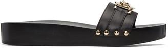 Versace Black Wooden Medusa Sandals $625 thestylecure.com
