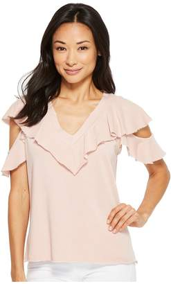 Lanston Cold Shoulder Ruffle Tee Women's T Shirt