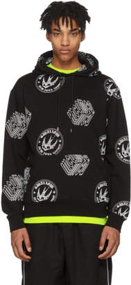 McQ Black All Over Logo Big Hoodie