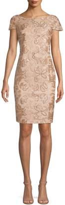 Calvin Klein Short Sleeve Floral Sequin Sheath Dress
