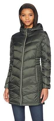 Lucky Brand Women's 3/4 Lightweight Packable Down Coat with Cinch Detail