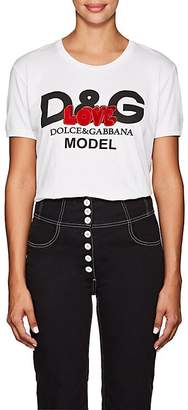 "Dolce & Gabbana Women's ""Love"" Embellished Logo Cotton T-Shirt"