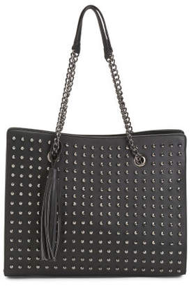 Large Studded Tote With Chain Handles