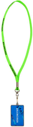 Balenciaga Green Gift Card Badge Necklace