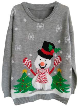 Viottis Women's Ugly Christmas Reindeer Snowflakes Pullover Sweater B-Navy XL