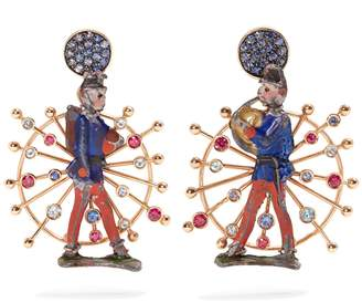 Rose-gold, sapphire toy soldier earrings