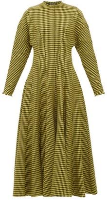 Vika Gazinskaya Panelled Houndstooth Wool Dress - Womens - Brown Multi