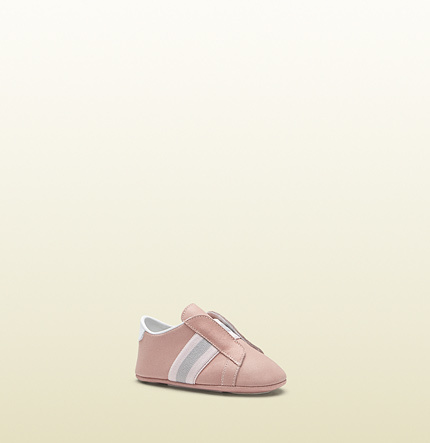 Gucci Baby Suede Shoe With Web
