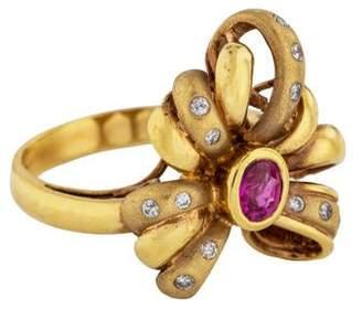 Ring 18K Ruby & Diamond Bow