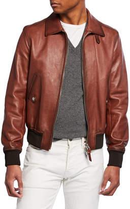 Tom Ford Men's Leather Zip-Front Bomber Jacket