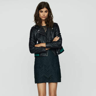 Maje Leather jacket with ribbed detail