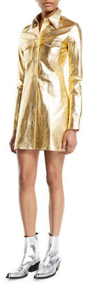 Calvin Klein Metallic Leather Button-Down Notched-Collar Tunic