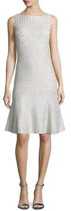 St. John Collection Adara Knit Godet-Hem Dress, Alabaster $1,195 thestylecure.com