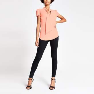 River Island Womens Orange tie neck short sleeve blouse