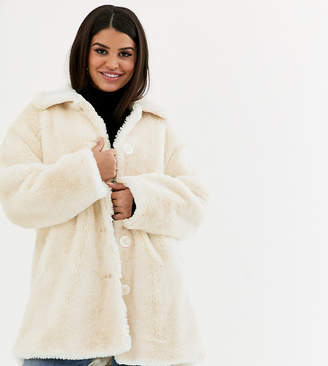 Asos DESIGN Petite faux fur button through coat in cream