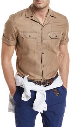 Brunello Cucinelli Dyed Short-Sleeve Camper Shirt