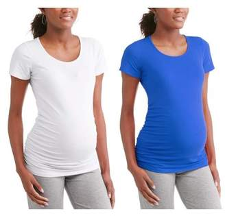Oh! Mamma Maternity Short Sleeve Tee With Flattering Side Ruching, 2-Pack -- Available in Plus Sizes