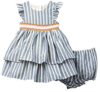 Laura Ashley Tiered Ruffle Striped Dress (Baby Girls 0-9M)