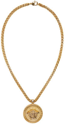 Versace Gold Large Round Medusa Head Necklace