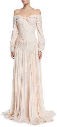 Zac Posen Off-The-Shoulder Pleated Long-Sleeve Gown