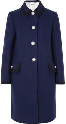 Miu Miu Embellished Wool Coat - Navy