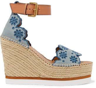 See by Chloe Embroidered Suede And Leather Espadrille Wedge Sandals - Blue