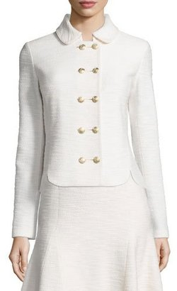 St. John Collection Mili Knit Double-Breasted Jacket, Alabaster $1,495 thestylecure.com