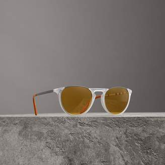 Burberry Keyhole Pilot Round Frame Sunglasses, White