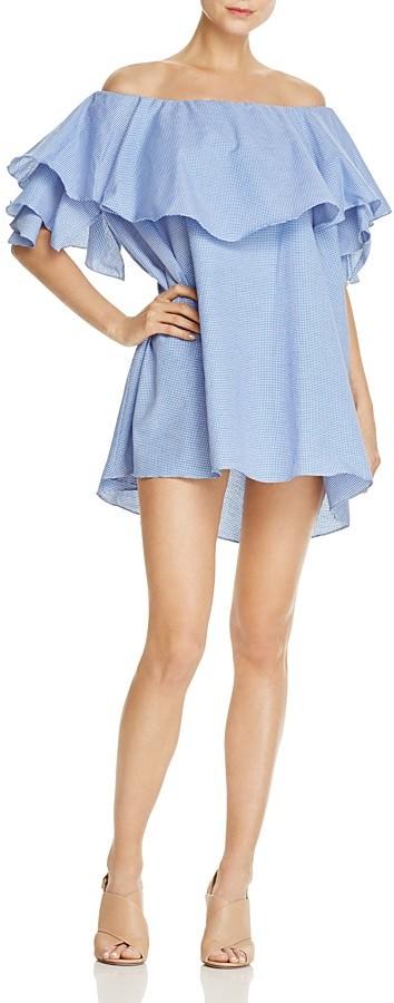 MLM Label Maison Gingham Off-the-Shoulder Ruffle Dress