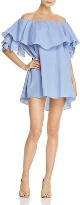 MLM Label Maison Gingham Off-the-Shoulder Ruffle Dress $165 thestylecure.com