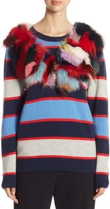 Harvey Faircloth Fox Fur-Trimmed Multi-Stripe Cashmere Sweater